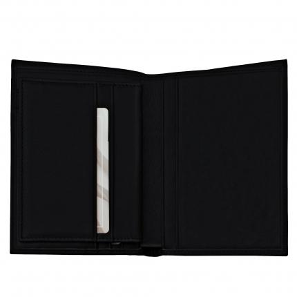 Portafoglio verticale di pelle nero Brucle