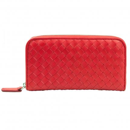 Portafoglio Donna rosso con cerniera in pelle intrecciata
