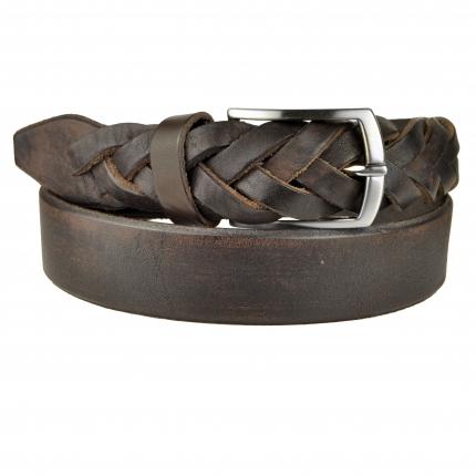 Cintura marrone in cuoio con punta intrecciata a mano