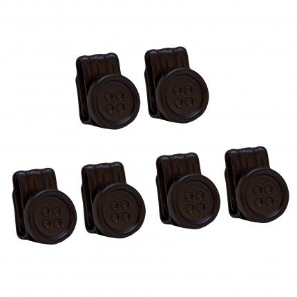 Bottoni neri con clip per bretelle