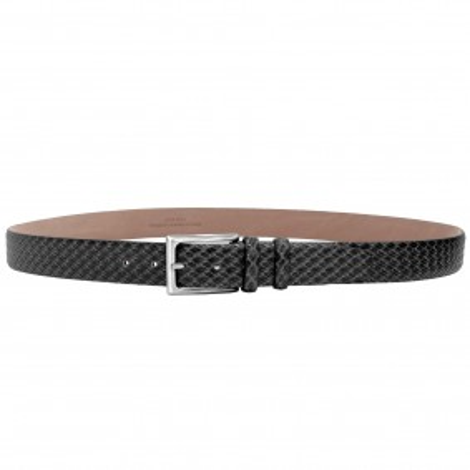 Cintura in pelle stampa intreccio grigia