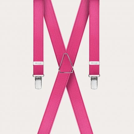 Bretelles extra-fines fuchsia avec 4 clips