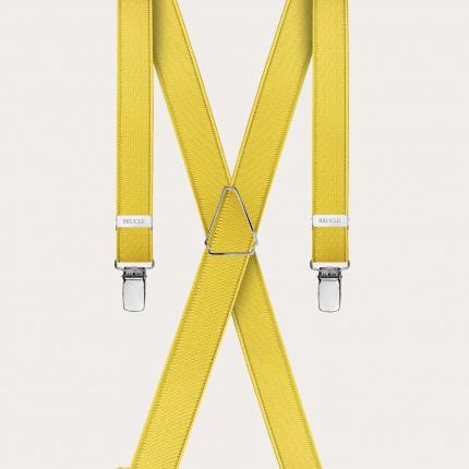 Bretelles extra fines jaune avec 4 clip
