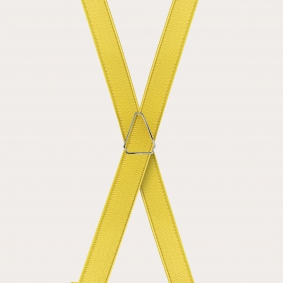 Formal skinny X-shape elastic suspenders with clips, satin yellow