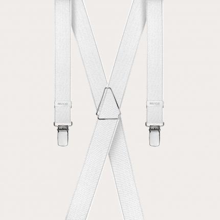 Bretelle sottili in raso bianco perla