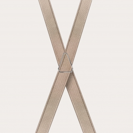 Formal skinny X-shape elastic suspenders with clips, satin beige