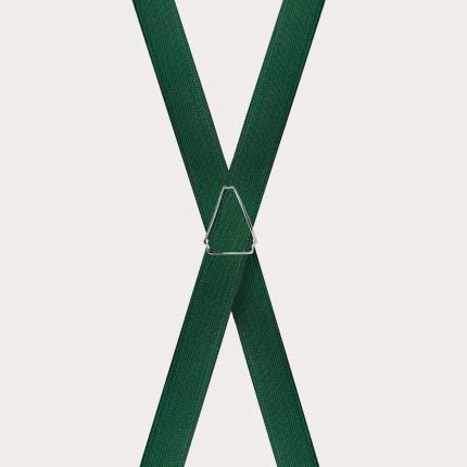 Formal skinny X-shape elastic suspenders with clips, satin dark green