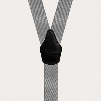 Y-shape elastic suspenders, striped grey