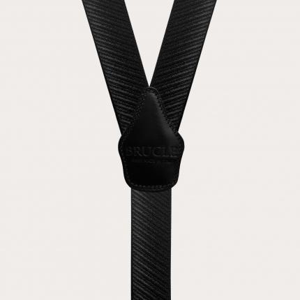 Y-shape elastic suspenders, black