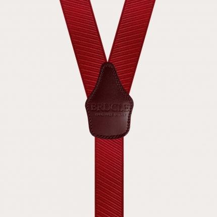 Y-shape elastic suspenders, red