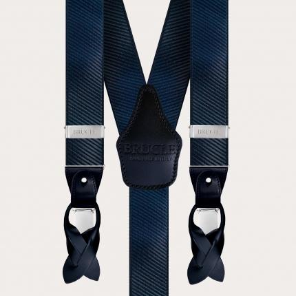 Bretelle uomo larghe lucide effetto raso eleganti bottoni o clip, blu scuro