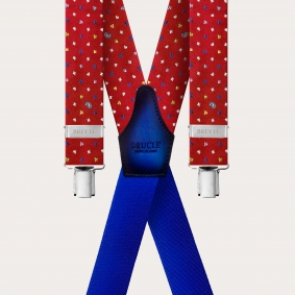 Braces silk X Suspenders red