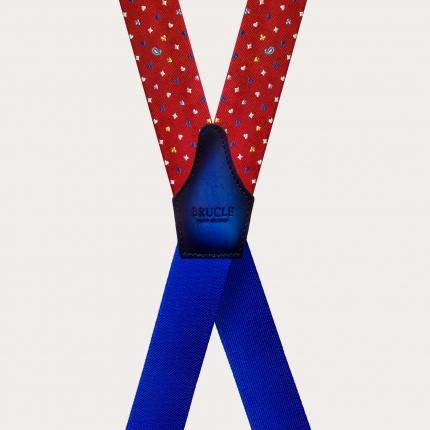 Bretelle a X in seta, rossa con micro disegni