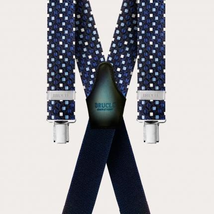 Bretelles larges X form en soie bleu