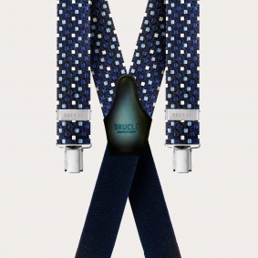 Formal X-shape pure silk suspenders with clips, blue with pattern