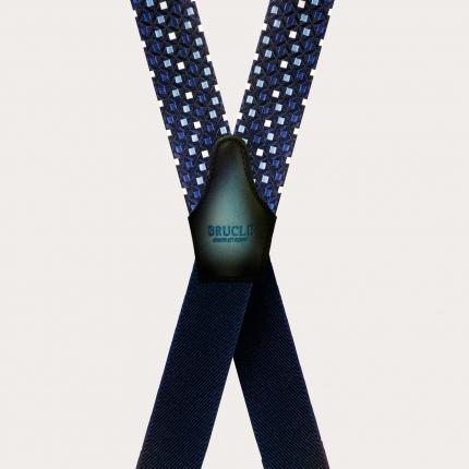 Bretelle a X in seta, jacquard blu a quadratini