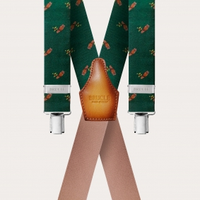 Braces silk X Suspenders green with owls