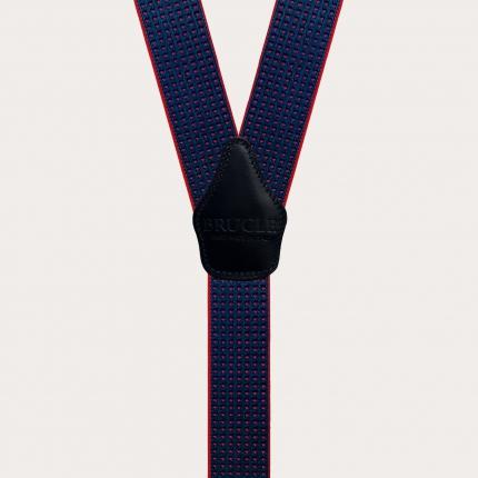Bretelle unisex a Y puntaspillo blu e rosso