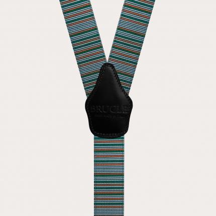 Y-shape elastic suspenders, horizontal stripes in green and orange