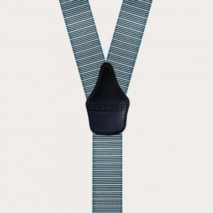 Bretelle lucide righe orizzontali blu e bianche