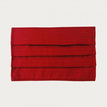 Wiederverwendbare stoffmaske seiden, rot punkte design