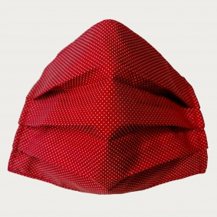 Masque filtrant rouge à pois, en soie