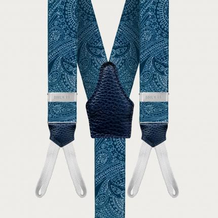 Bretelle cerimonia raso blu con asole per bottoni