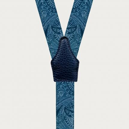 Bretelles fines à tresses pour boutons bleu