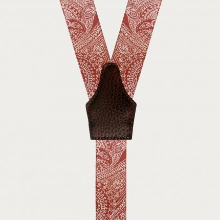 Bretelle cerimonia raso indian red rosse con asole per bottoni