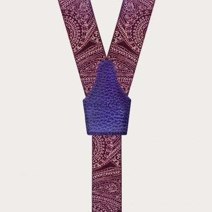 Y-shape suspenders with braid runners, purple paisley