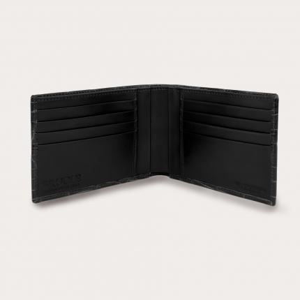 Genuine crocodile bifold wallet, black