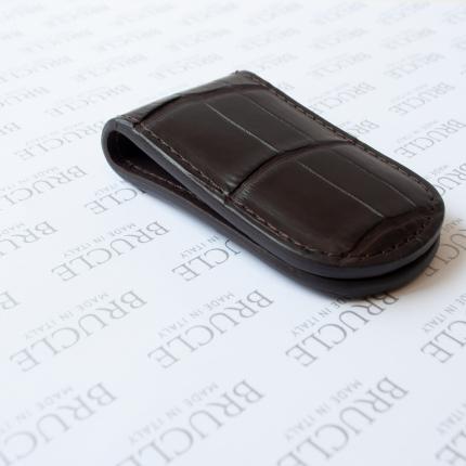 Genuine alligator leather moneyclip, dark brown
