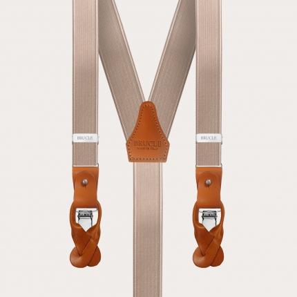 BRUCLE Bretelle in raso elastico con baffi e clip, beige