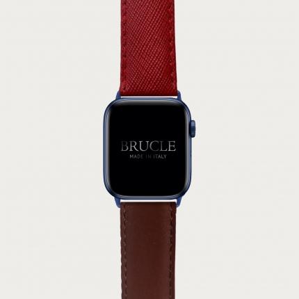 Armband kompatibel mit Apple Watch / Samsung Smartwatch, rote Saffiano print und bruin