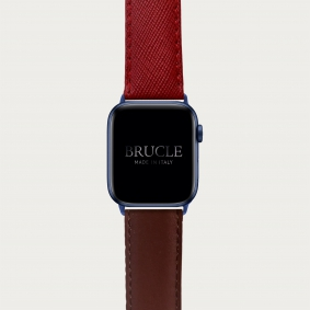 Leather Watch band compatible with Apple Watch / Samsung smartwatch, bicolor red Saffiano print and brown