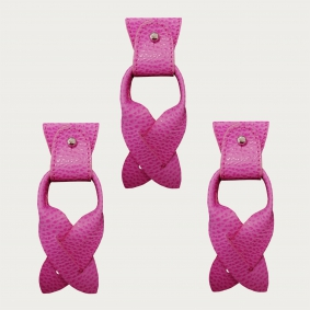 Replacement for Y-shape suspenders ends+ears strips for button end, cyclamen