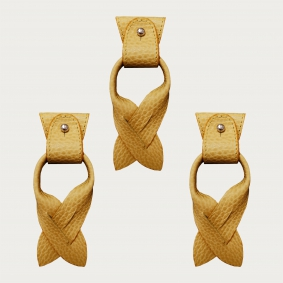 BRUCLE Replacement for Y-shape suspenders ends+ears strips for button end, pale yellow