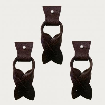 BRUCLE Ersatz für Y-förmige Hosenträgerenden+Ohrenstreifen für Knopfleiste, dunkelbraun