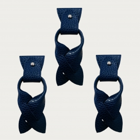BRUCLE Replacement for Y-shape suspenders ends+ears strips for button end, blue