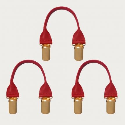 BRUCLE Connecteurs en cuir avec clips dorés, 3 pcs., rouge