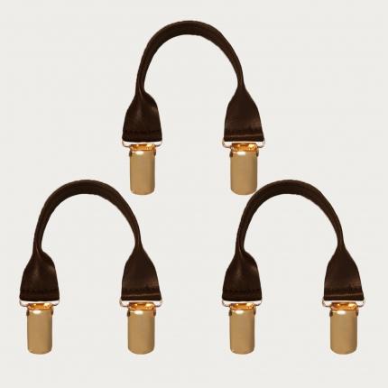 BRUCLE Connecteurs en cuir avec clips dorés, 3 pcs., marron foncé