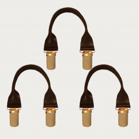 BRUCLE Leather connectors with golden clips, 3 pcs., dark brown
