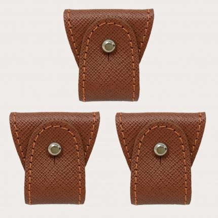BRUCLE Set ricambio 3 pz. terminali in pelle per bretelle doppio uso, cognac saffiano