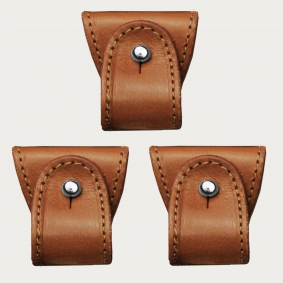 BRUCLE Replacement set of leather ends for dual use suspenders, 3 pcs., cognac brown