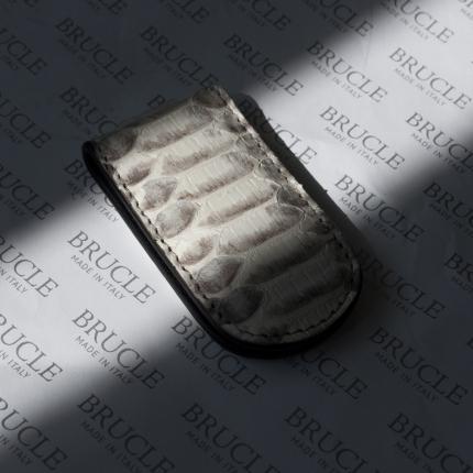 Pince à billets blanche en peau de python véritable