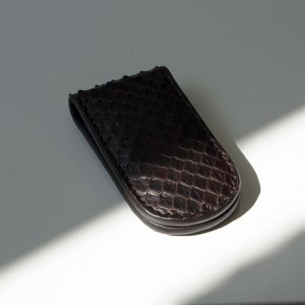 Pince à billets brun en cuir python