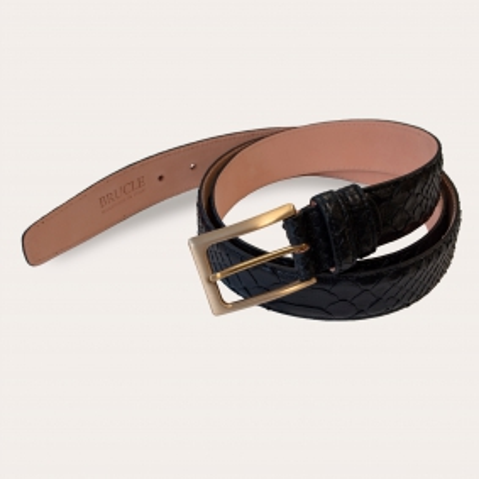 Cintura in pitone con fibbia oro nickel free, nero