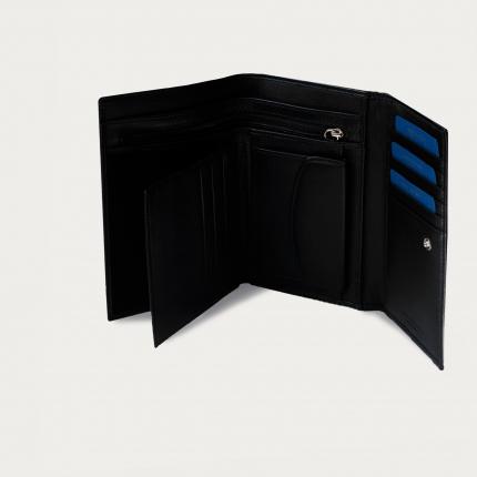 Portefeuille en véritable cuir pleine fleur avec porte-cartes, porte-documents et porte-monnaie, couleur noire