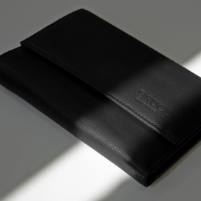 Wallet in genuine full grain leather with card holder, document holder and coin purse, black color
