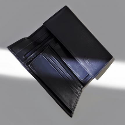 Portefeuille en véritable cuir pleine fleur avec porte-cartes, porte-documents et porte-monnaie, couleur bleu